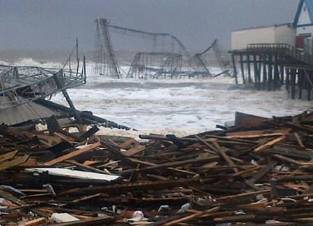 The beloved and historical boardwalk at Seaside Heights, NJ destroyed during Hurricane Sandy