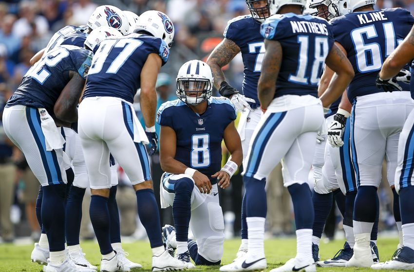 NASHVILLE, TN - SEPTEMBER 24: Quarterback Marcus Mariota  #8 of the Tennesee Titans calls a play against the Seattle Seahawks at Nissan Stadium on September 24, 2017 in Nashville, Tennessee. (Photo by Shaban Athuman/Getty Images)